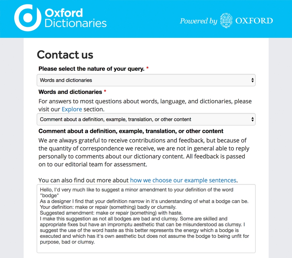 A Bodge Caught My Attention.